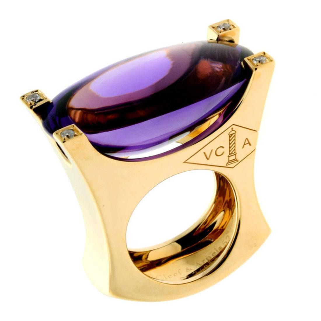 Van cleef amp arpels vca 18k yellow gold ruby cabochon amp diamond - Van Cleef Arpels Amethyst Diamond Gold Ring