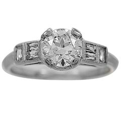 .85 European Cut Center Diamond Platinum Ring