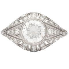 1.21 Carat GIA Cert Round Brilliant Diamond Platinum Ring