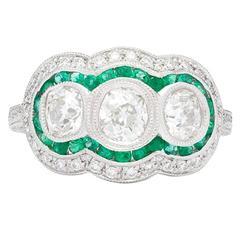 Three Stone Old Mine Cut Diamond Emerald Platinum Ring