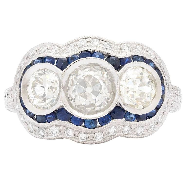 Old European Cut Sapphire Diamond Platinum Ring
