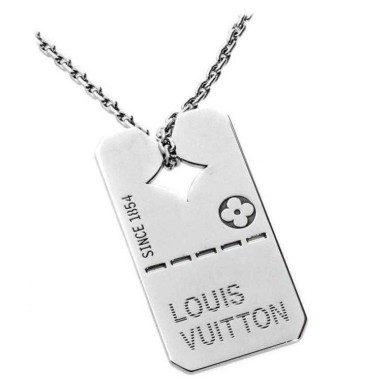 Louis Vuitton Gold Dog Tag Necklace
