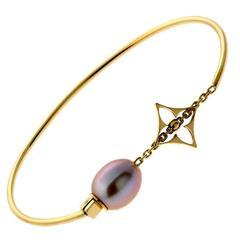 Louis Vuitton Monogram Tahitian Pearl Gold Bangle Bracelet