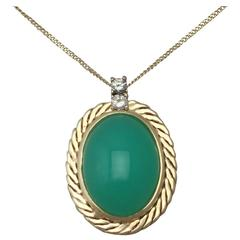 7.29Ct Chrysoprase and Diamond, 14k Yellow Gold Pendant - Circa 1960