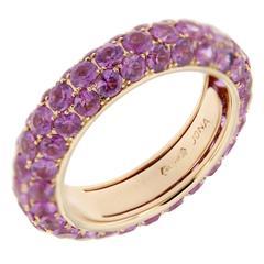 Jona Pink Sapphire Pavé 18 Karat Rose Gold Eternity Band Ring