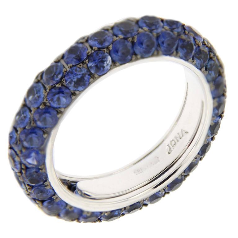 Jona Blue Sapphire Pavé 18 Karat White Gold Eternity Band Ring