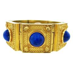 Remarkable Antique Lapis Lazuli Locket Gold Bracelet
