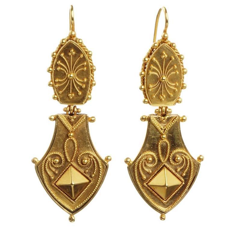 Victorian Era Etruscan Revival Earrings 1