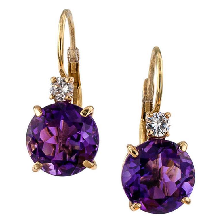 amethyst diamond gold drop earrings at 1stdibs