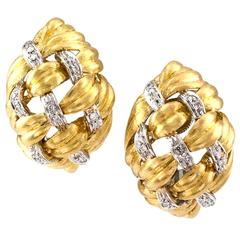 Diamond Gold Domed Basket Weave Ear Clips