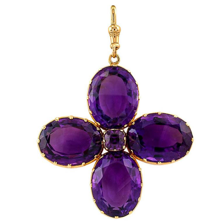 Victorian Amethyst Gold Cruciform Pendant For Sale