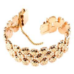 Retro Rose Gold Wide Floral Link Bracelet