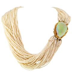 Opal and Fresh Water Pearl Torsade Necklace