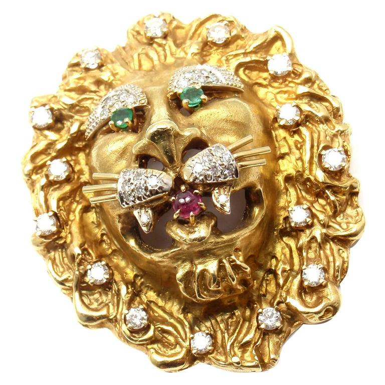 Hammerman Brothers Emerald Ruby Diamond Gold Lion Pendant Pin Brooch