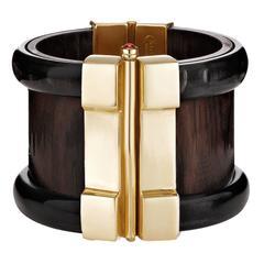 Fouche Horn Wood Emerald Fire Opal Cuff Bracelet