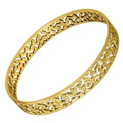 Gold Bangle Bracelet Textured Open Work Handmade in NYC Limited Edition