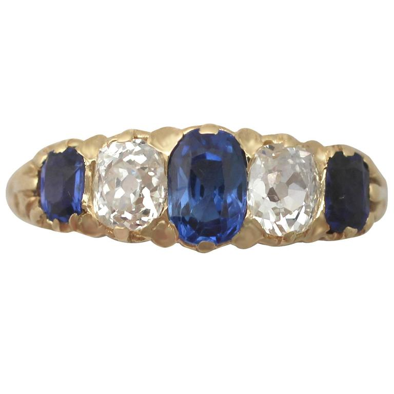 1890s 1.05 Carat Sapphire and Diamond Yellow Gold Cocktail Ring