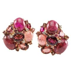 Pink Tourmaline Diamond Gold Cluster Earrings