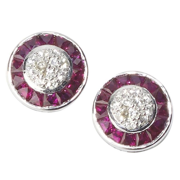 Ruby Diamond Platinum Cluster Earrings