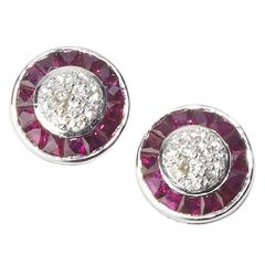 Ruby Diamond Platinum Cluster Earrings