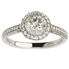 .94 Carat Diamond Platinum Halo Ring
