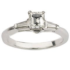 0.71 Carat Emerald Cut Diamond Platinum Ring