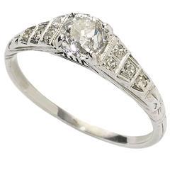 Art Deco .58 Carat GIA Cert Diamond Gold Ring