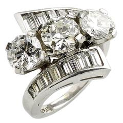 4.10 Carats Diamonds Platinum Three Stone Crossover Ring