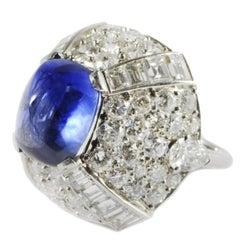 9.10 Carat Sapphire Diamond Gold Bombé Ring