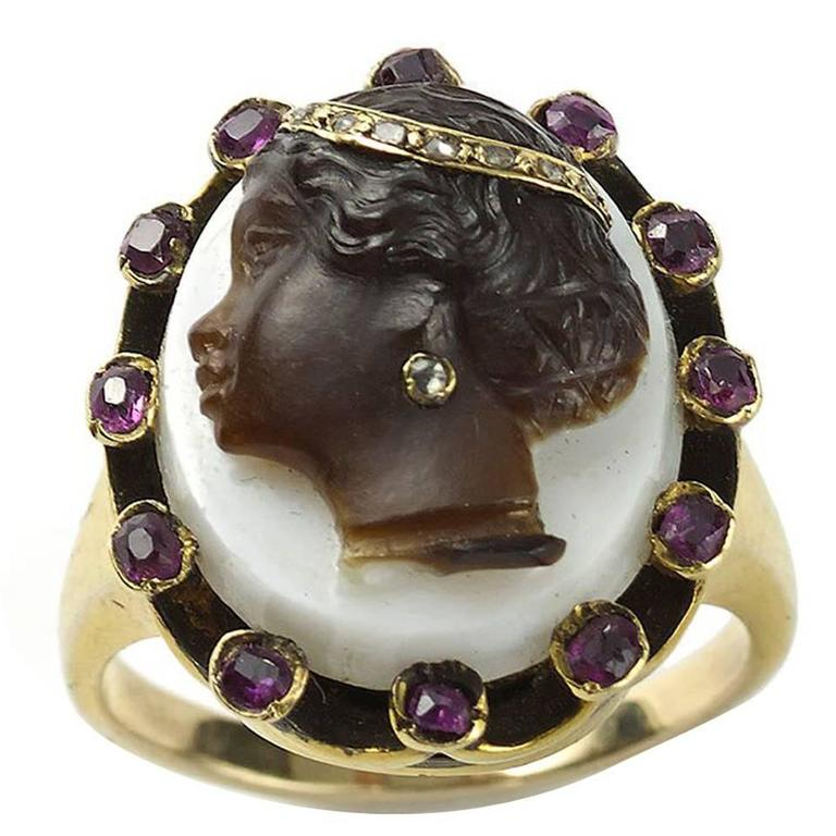 Antique Cameo Enamel Ruby Diamond Gold Ring