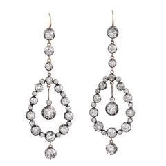 Victorian 8.75 Carat Antique Diamond Chandelier Earrings