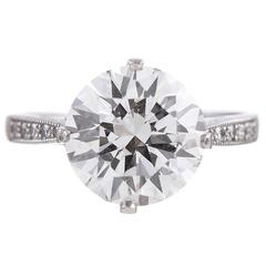 3.71 Carat Round Diamond Platinum Solitaire Ring