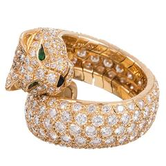 Cartier Diamond Gold Panthere Ring