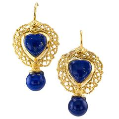 Lapis Lazuli Gold Drop Earrings