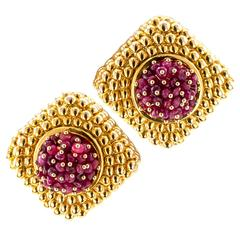 1980s Ruby Gold Earrings