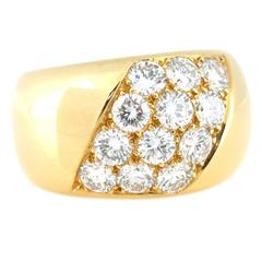 1980s Cartier Diamond 18kt Yellow Gold Ring. Size 6.5