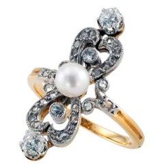 Edwardian Pearl Diamond Gold Ring Circa 1910
