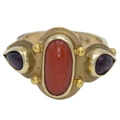 Oval Coral Pear Shaped Garnets Gold Ring
