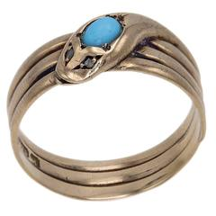 1910s Turquoise Diamond Rose Gold Snake Ring