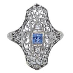 Art Deco Sapphire Diamond Gold Filigree Ring, 1930s