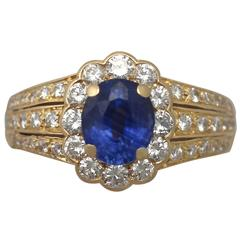 1980s 1.50 Carat Sapphire and Diamond Yellow Gold Cocktail Ring