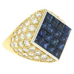 Van Cleef & Arpels Mystery Set Sapphire Diamond Gold Bombe Ring