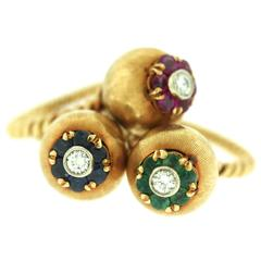 1960s Set of Three Gem Set Diamond Gold Rings