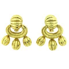 David Webb Dangling Gold Earrings
