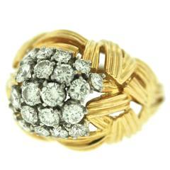 Boucheron Paris Basketweave Diamond Gold Ring