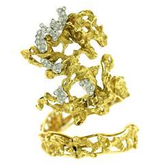 1970s Diamond Gold Free Form Wrap Cuff Bracelet