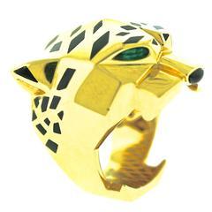 Cartier Enamel Onyx Peridot Gold Panthere Ring