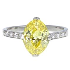 Raymond Yard Art Deco Vivid Yellow Oval Diamond Solitaire Engagement Ring