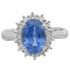 3.02 Carat Sapphire Diamond Platinum Cluster Ring