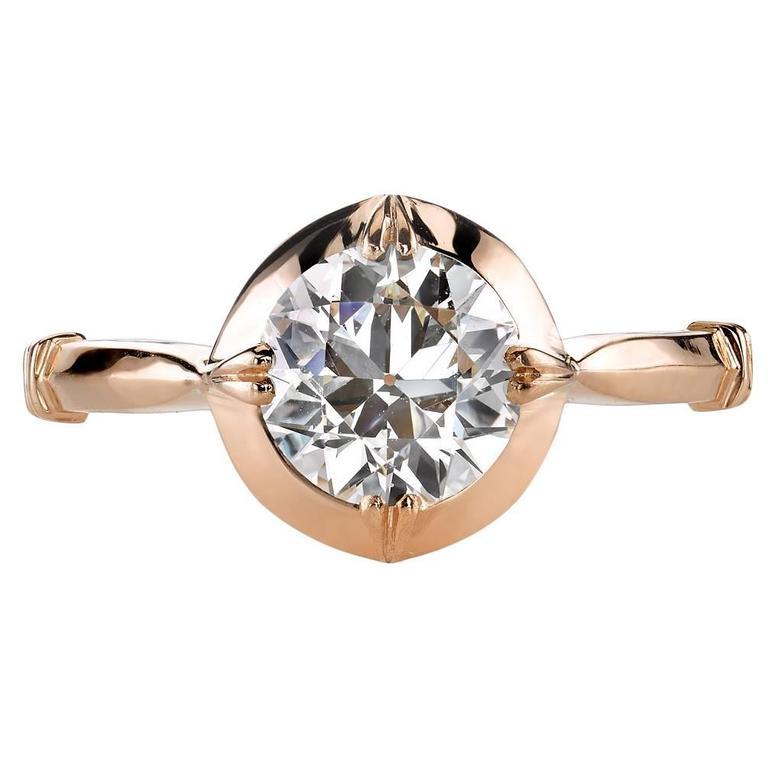 1.22 Carat Old European Cut Diamond Gold Engagement Ring